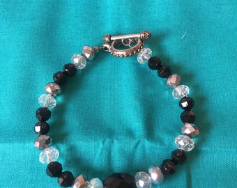 Black with sliver and clear Swarovski beaded bracelet