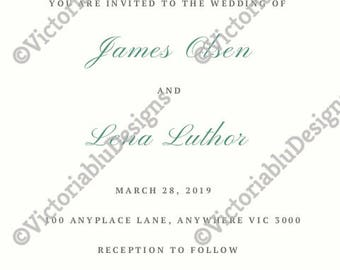 Butterfly Printable wedding invitation Set - Invite, RSVP, Thank you cards (Cute, Sweet, Pretty)