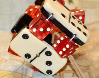 Vintage Domino Bracelet -Black White Lucite Dominoes - Red Lucite Dice - Recycled - Game Piece Collection