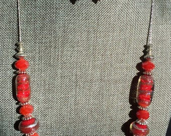 Maraschino Red & Gold Glass Necklace and Earring Set