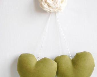 Soft hanging heart, stuffed linen hearts, gift for new mom, personalized gift, anniversary hearts, wedding decor, modern wedding