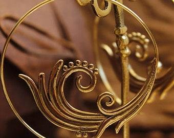 Brass Earrings, Brass Spiral Earrings, Gypsy Earrings, Festival Earrings ,Ethnic Earrings, Indian Earrings, Statement Earrings, gift for her