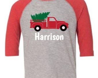 Tree Truck Custom Christmas Holiday Shirt/Bodysuit for Kids/Infants