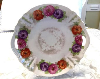 Antique German Floral Handled Serving Plate