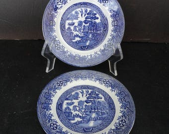 """Staffordshire, W Adams &  Sons, Turnbull, England-4 Blue Willow Plate 6"""""""