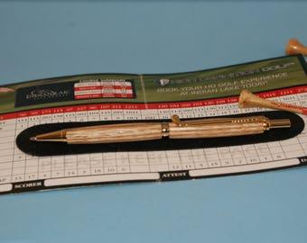 Golfers pencil gift, .7mm mechanical, oak wooden pen, handmade, WoodsmithPens, recycled wood pen, Nova Scotia Canadian, sports theme