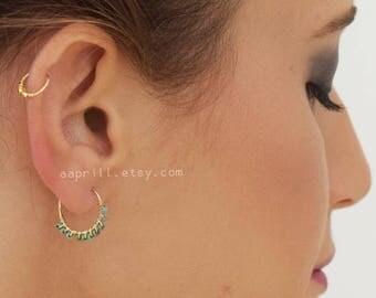Hoop earrings, coral hoops, turquoise hoops, gold hoops, silver hoop earrings, tiny hoops, medium hoop earrings, gold hoop earrings