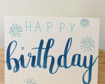 Hand Drawn Birthday Card with Fireworks
