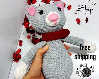 Amigurumi cat toy, kitten croket toy, stuffed cat