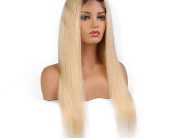 Custom Wig-Blonde Wig-100% Human Hair Wig-Lace Front Wig-Straight Wig-Long Wig