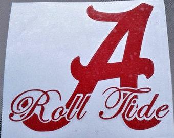 Alabama Vinyl decal University of Alabama decal Alabama sticker University of Alabama Crimson Tide football car decal Roll Tide