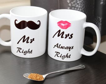 "His and Hers Matching Coffee Mugs ""Mr-Mrs"" Set of 2!!! FREE Delivery !"
