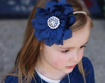 Dark Blue Flower Headband