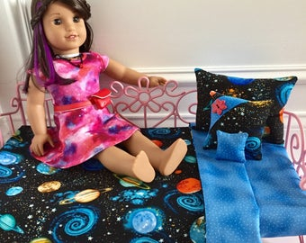 "18"" Doll Bedding Set/4pc Bedding Set/Outer space bedding/American Girl Luciana/Luciana GOTY 2018/STEM/Outer space"