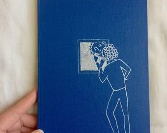 Blue Buckram Handbound Journal with Silverleaf Design