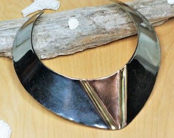Vintage Tricolor Brass Collar Statement Necklace