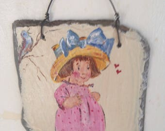 Painted slate little girl with bird