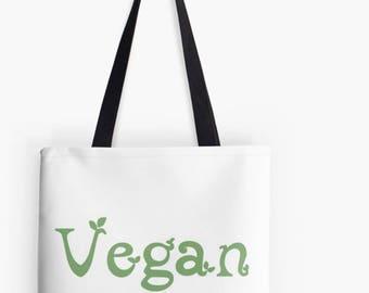 Vegan Leaf Print Tote Bag