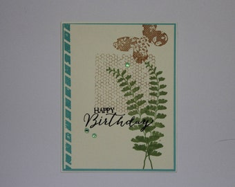 Feminine One layer card; Butterfly Birthday card