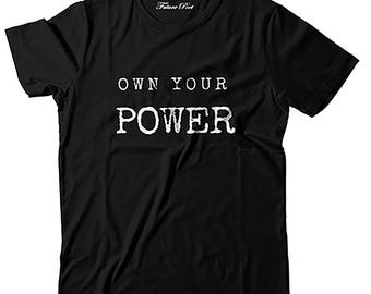 Women's Black T-shirt with inspirational quote (Power)