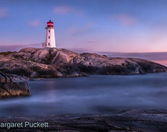 Peggy's Cove Light at Twilight Fine Art Photo, light house, Peggy's Cove, Nova Scotia