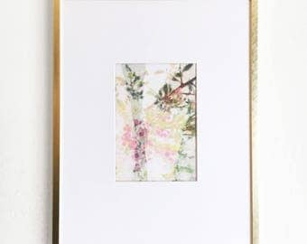 Floral Print on Framed Canvas - Handmade and One of a Kind