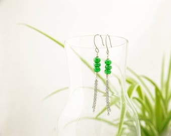 Wendy - Emerald dreams - exquisite and elegant hanging earrings