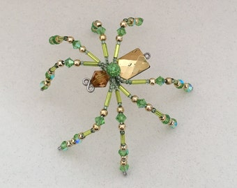 Beaded Spider - Green and Gold