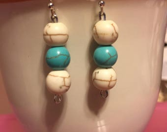 White & Turquoise Dangles (silver)