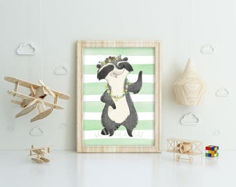 Cute raccoon on a watercolor background, printable poster, instant download, wall art design, clip art, for kids