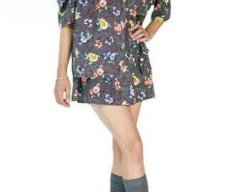 Redesigned Vintage Floral Black Polka Dot Cold Shoulder Skirt Set (3 Pieces)