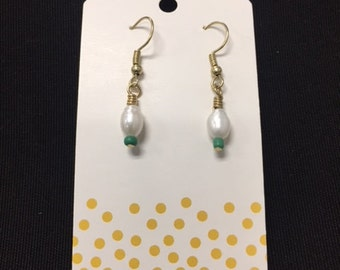Handmade Silver Plated freshwater pearl and glass bead pair of earrings