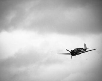 "Military Aircraft Fine Art Print, Historic Fighter Plane Photography, WWII Aircraft Wall Art, ""Curtiss P-40 Kittyhawk Opens Fire"""