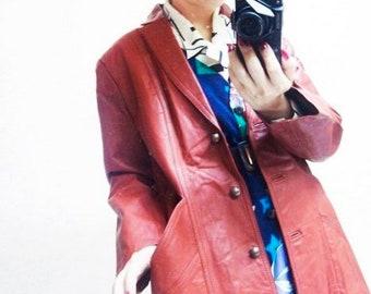 Fiber Street VINTAGE! rare classic 70s beautiful color and details vintage leather jacket