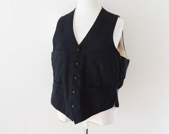 Japanese Vintage 30s Wool Suits Vest Gilet Bespoke Black スーツ ベスト ジャパンヴィンテージ 30年代 シンチバック ジレ 黒