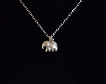 Hill Tribe and Sterling Silver Elephant Charm Necklace