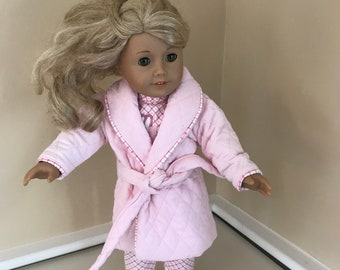 """18"""" doll pajama and robe set that fits American Girl dolls"""