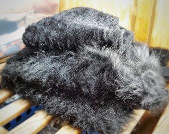 Large Black Fur Scrap Fabric