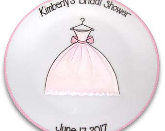 Wedding Dress Bridal Shower Guest Signature Platter