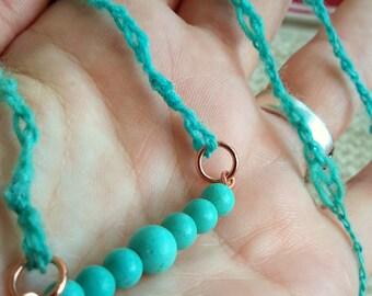 Arcanity: Amity Turquoise Necklace - semi-precious beads, copper, handspun yarn