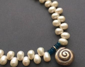 Shell, White Freshwater Pearls, Neon Apatite, Thai Silver, Sterling Silver Necklace, erinelizabeth