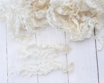 Natural White Cotswold Locks - Washed - Curly, Wavy - Art Fiber - 4 Ounces
