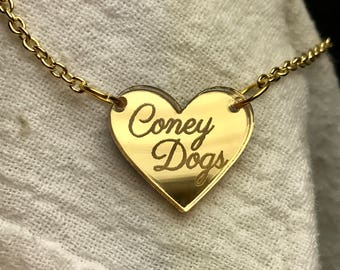 Coney Dogs Heart Gold Mirror Acrylic Necklace