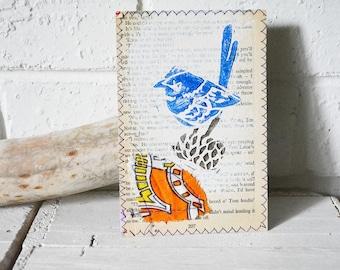 Small Mixed Media Art Print - Splendid Blue Wren on Banksia - Australian Bird Print on Vintage book - Upcycled wall art - pg 200