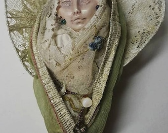 Secret Garden Angel, Textile art doll, OOAK art doll,  Sculpture Figurines, mothers day gift, mom to be gift, new mom, baby shower