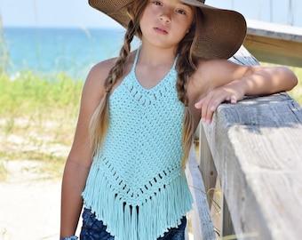 Crochet Halter - Crochet Fringe Halter - Cotton Crochet Halter Top - Child's Halter Top - 12 mos - Girls 10