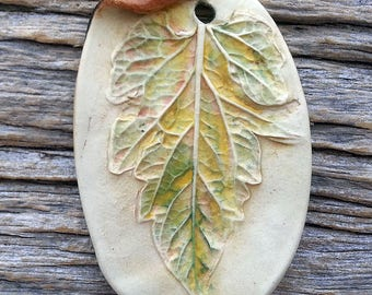 Ceramic Pendant  Rustic Large Leaf  Stoneware by Mary Harding