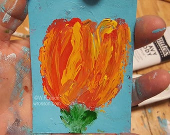 Tulip Painting, Original Painting, Original Art, Tulip, Orange Tulip, Flower Painting, Winjimir, Art Card, ACEO, Miniature Painting, Gift,