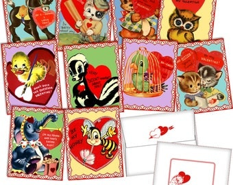 Vintage Retro 1950s Cute Animal Valentine Cards Digital File Printable INSTANT DOWNLOAD
