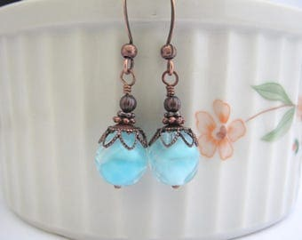 Ocean Blue Earrings, Aqua Givre Czech Glass beaded jewelry, Antiqued Copper Dangle, Spring Summer Outdoor Jewelry, Bright Cheerful Tween